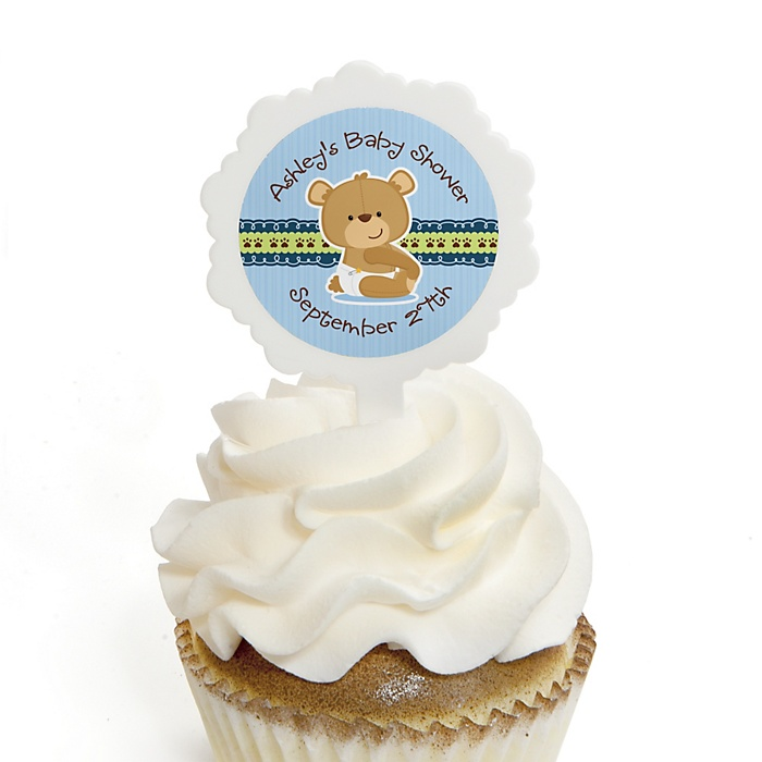 Baby Boy Teddy Bear - 12 Cupcake Picks & 24 Personalized Stickers - Baby Shower Cupcake Toppers