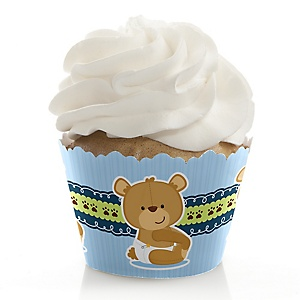 Baby Boy Teddy Bear - Baby Shower Decorations - Party Cupcake Wrappers - Set of 12