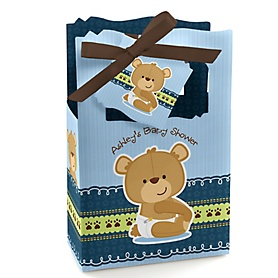 Baby Boy Teddy Bear - Personalized Baby Shower Favor Boxes - Set of 12