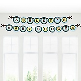 Baby Boy Teddy Bear - Personalized Baby Shower Garland Letter Banners
