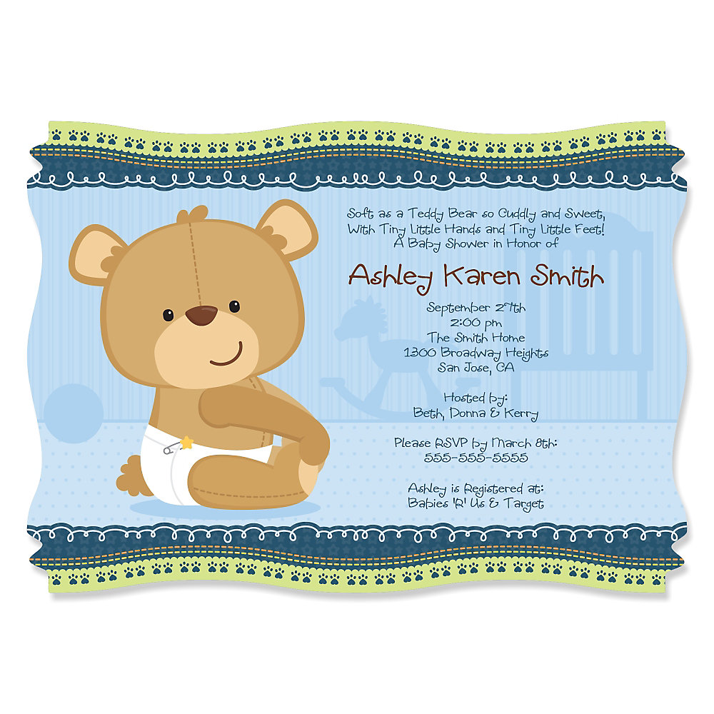 Baby Boy Teddy Bear - Personalized Baby Shower Invitations - Set of 12.  Double tap to zoom