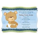 Baby Boy Teddy Bear - Personalized Baby Shower Invitations