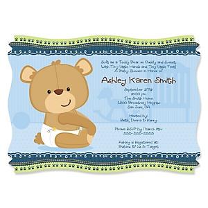 Baby Boy Teddy Bear - Personalized Baby Shower Invitations