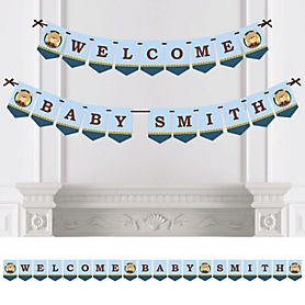 Baby Boy Teddy Bear - Personalized Baby Shower Bunting Banner & Decorations