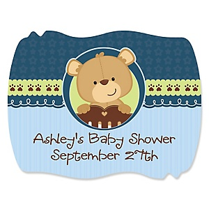 Baby Boy Teddy Bear - Personalized Baby Shower Squiggle Stickers - 16 ct