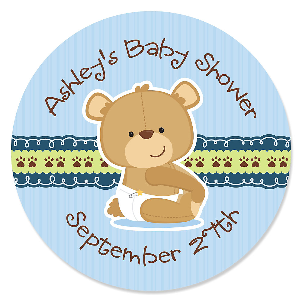 Baby Boy Teddy Bear   Personalized Baby Shower Sticker Labels   24 Ct