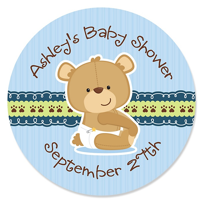 Baby Boy Teddy Bear - Personalized Baby Shower Sticker Labels - 24 ct