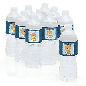 Baby Boy Teddy Bear - Personalized Baby Shower Water Bottle Sticker Labels - Set of 10