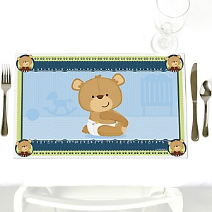 Baby Boy Teddy Bear - Party Table Decorations - Baby Shower Placemats - Set of 12
