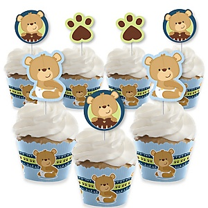 Baby Boy Teddy Bear - Cupcake Decoration - Baby Shower Cupcake Wrappers and Treat Picks Kit - Set of 24