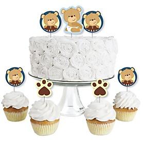 Baby Boy Teddy Bear - Dessert Cupcake Toppers - Baby Shower Clear Treat Picks - Set of 24