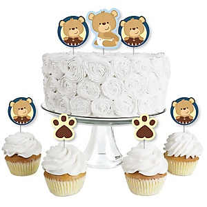 Baby Boy Teddy Bear - Dessert Cupcake Toppers - Baby Shower Clear Treat Picks - Set of 24