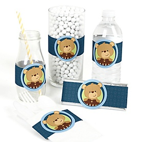 Baby Boy Teddy Bear - DIY Party Wrappers - 15 ct