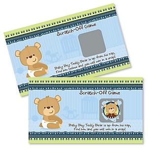 Baby Boy Teddy Bear - Baby Shower Game Scratch Off Cards - 22 ct