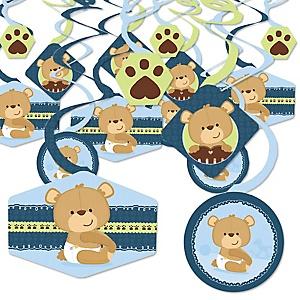 Baby Boy Teddy Bear - Baby Shower Hanging Decor - Party Decoration Swirls - Set of 40