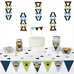 Baby Boy Teddy Bear - 72 Piece Triangle Party Decoration Kit