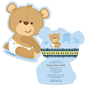 Baby Boy Teddy Bear - Shaped Baby Shower Invitations - Set of 12