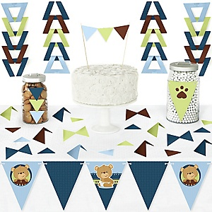 Baby Boy Teddy Bear - DIY Pennant Banner Decorations - Baby Shower Triangle Kit - 99 Pieces