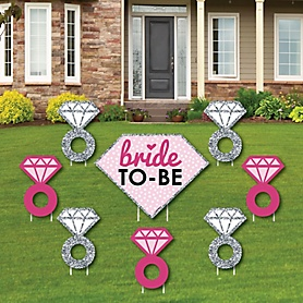 Bride-To-Be - Yard Sign & Outdoor Lawn Decorations - Bridal Shower or Classy Bachelorette Party Yard Signs - Set of 8