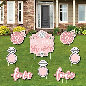 Floral Bridal Shower - Yard Sign and Outdoor Lawn Decorations - Pink Bridal Shower Yard Signs - Set of 8