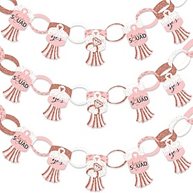 Bride Squad - 90 Chain Links and 30 Paper Tassels Decoration Kit - Rose Gold Bridal Shower or Bachelorette Party Paper Chains Garland - 21 feet