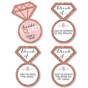 Drink If Game - Bride Squad - Rose Gold Bridal Shower or Bachelorette Party Game - 24 Count