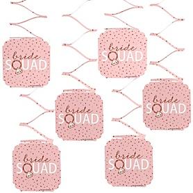 Bride Squad - Rose Gold Bridal Shower or Bachelorette Party Hanging Decorations - 6 ct