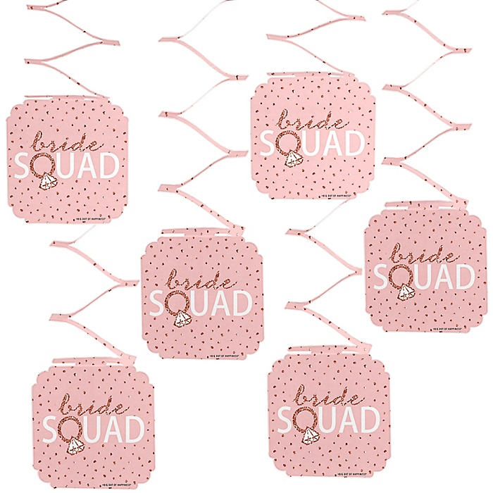 Bride Squad - Rose Gold Bridal Shower or Bachelorette Party Hanging Decorations - 6 ct