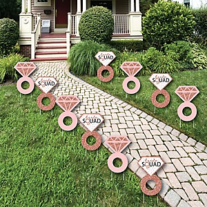 Bride Squad - Ring Lawn Decorations - Outdoor Rose Gold Bridal Shower or Bachelorette Party Yard Decorations - 10 Piece