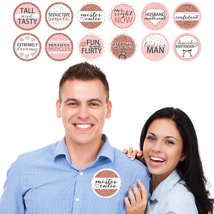 Bride Squad - Rose Gold Bridal Shower or Bachelorette Party Man Hunt Stickers - Set of 12