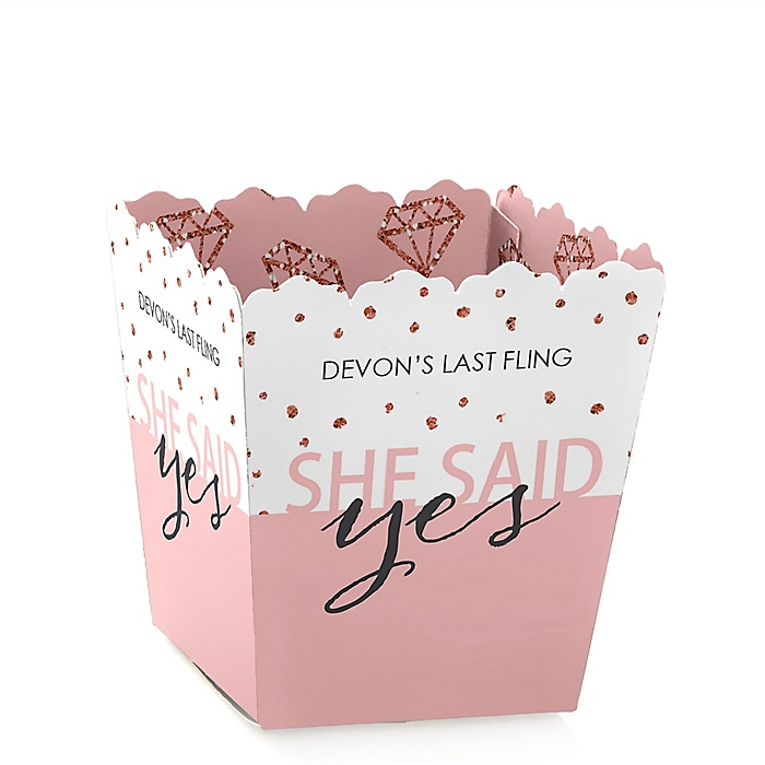 Bride Squad - Party Mini Favor Boxes - Personalized Rose Gold Bridal Shower or Bachelorette Party Treat Candy Boxes - Set of 12