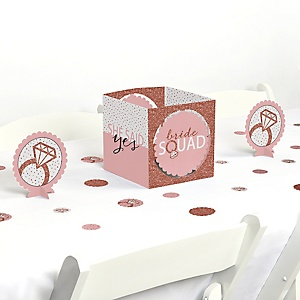 Bride Squad - Rose Gold Bridal Shower or Bachelorette Party Centerpiece and Table Decoration Kit