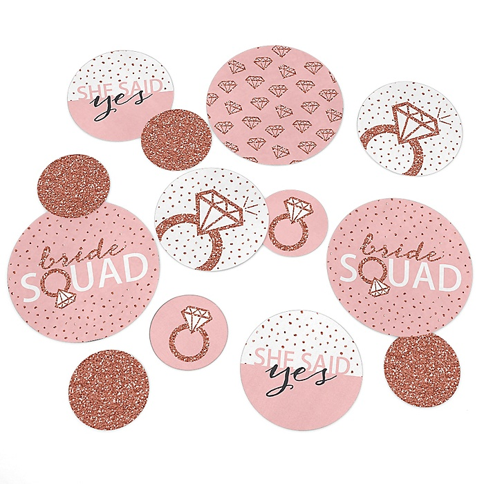 Bride Squad - Rose Gold Bridal Shower or Bachelorette Party Giant Circle Confetti - Party Decorations - Large Confetti 27 Count
