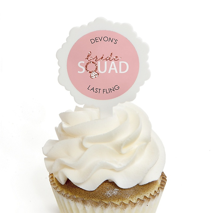 Bride Squad - Cupcake Picks with Personalized Stickers - Rose Gold Bridal Shower or Bachelorette Party Cupcake Toppers - 12 ct