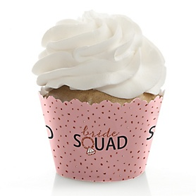 Bride Squad - Rose Gold Bridal Shower or Bachelorette Party Decorations - Party Cupcake Wrappers - Set of 12