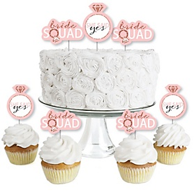 Bride Squad - Dessert Cupcake Toppers - Rose Gold Bridal Shower or Bachelorette Party Clear Treat Picks - Set of 24