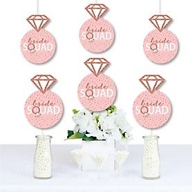 Bride Squad - Ring Decorations DIY Rose Gold Bridal Shower or Bachelorette Party Essentials - Set of 20