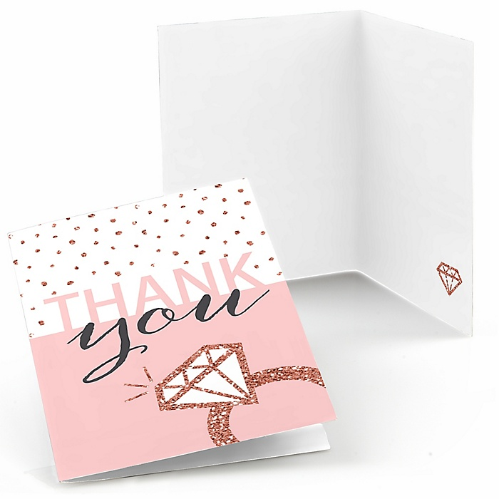 Bride Squad - Rose Gold Bridal Shower or Bachelorette Party Thank You Cards - 8 ct