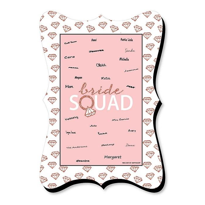 Bride Squad - Unique Alternative Guest Book - Rose Gold Bridal Shower or Bachelorette Party Signature Mat