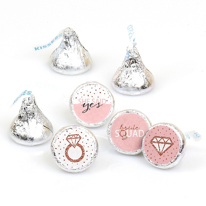 Bride Squad - Round Candy Labels Rose Gold Bridal Shower or Bachelorette Party Favors - Fits Hershey's Kisses - 108 ct