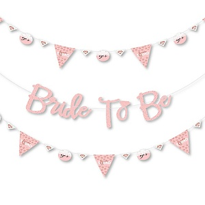Bride Squad - Rose Gold Bridal Shower or Bachelorette Party Letter Banner Decoration - 36 Banner Cutouts and No-Mess Real Gold Glitter Bride To Be Banner Letters