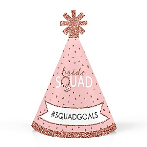 Bride Squad - Personalized Mini Cone Rose Gold Bridal Shower or Bachelorette Party Hats - Small Little Party Hats - Set of 10