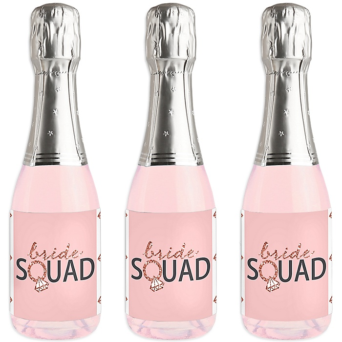Bride Squad - Mini Wine and Champagne Bottle Label Stickers - Rose Gold Bridal Shower or Bachelorette Party Favor Gift - For Women and Men - Set of 16