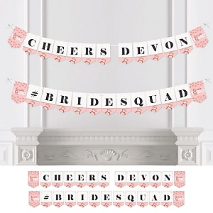 Bride Squad - Personalized Rose Gold Bridal Shower or Bachelorette Party Bunting Banner and Decorations