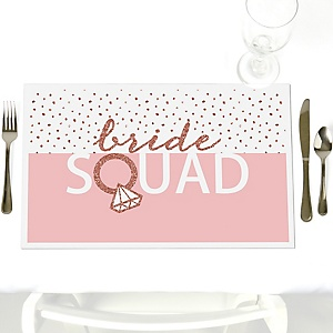 Bride Squad - Party Table Decorations - Rose Gold Bridal Shower or Bachelorette Party Placemats - Set of 12