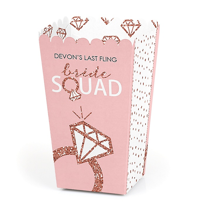 Bride Squad - Personalized Rose Gold Bridal Shower or Bachelorette Party Popcorn Favor Treat Boxes - Set of 12