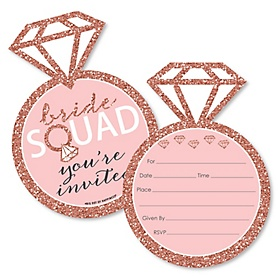 Bride Squad - Shaped Fill-In Invitations - Rose Gold Bridal Shower or Bachelorette Party Invitation Cards with Envelopes - Set of 12