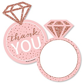 Bride Squad - Shaped Thank You Cards - Rose Gold Bridal Shower or Bachelorette Party Thank You Note Cards with Envelopes - Set of 12