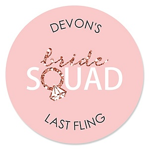 Bride Squad - Personalized Rose Gold Bridal Shower or Bachelorette Party Sticker Labels - 24 ct