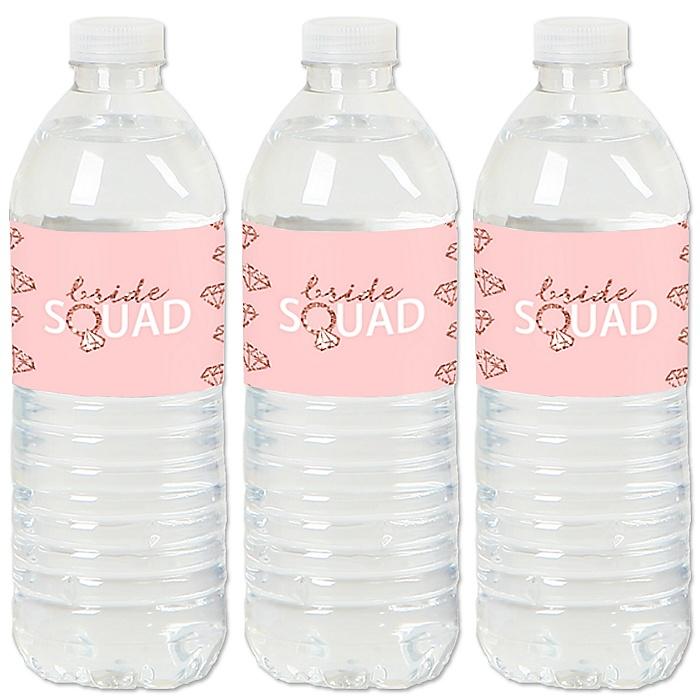 Bride Squad - Rose Gold Bridal Shower or Bachelorette Party Water Bottle Sticker Labels - Set of 20